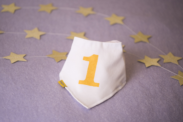 First birthday gold glitter bandana bib